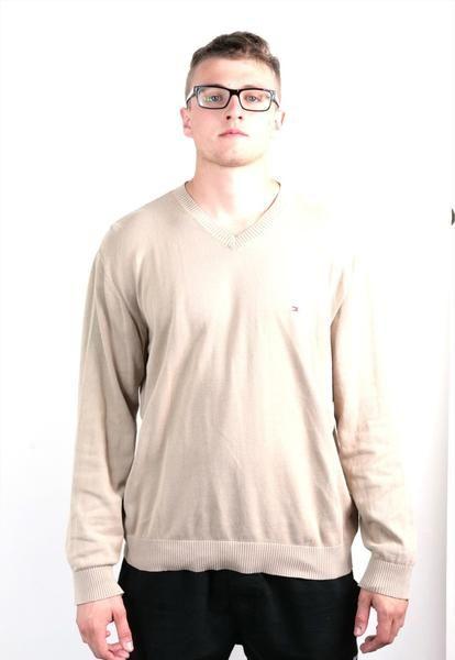 Tommy Hilfiger Mens XL Jumper Camel Cotton Beige Sweater Blouse - RetrospectClothes