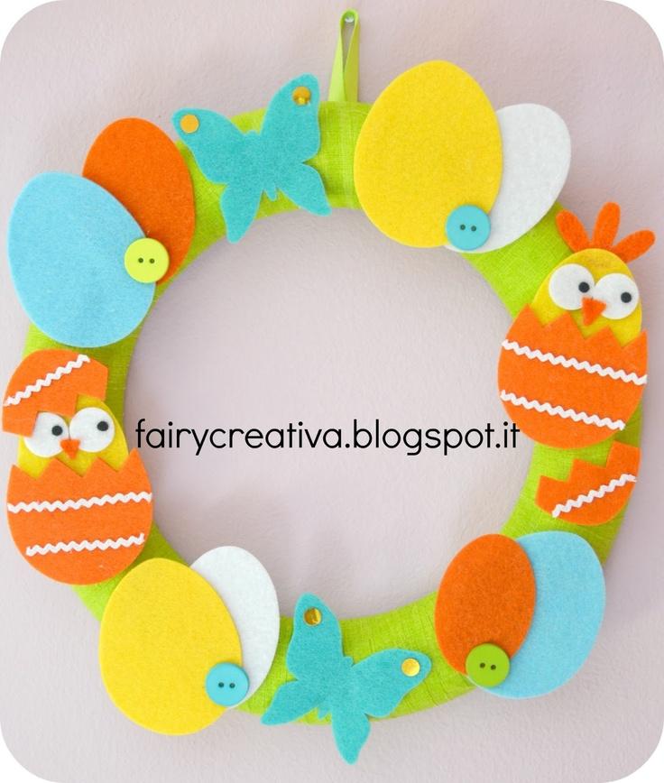 Fairy Creativa: Ghirlanda di Pasqua in feltro - Felt Easter wreath