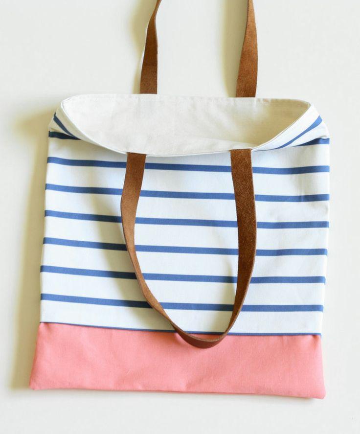 The Nautical Tote Peach. Blue and White Stripes