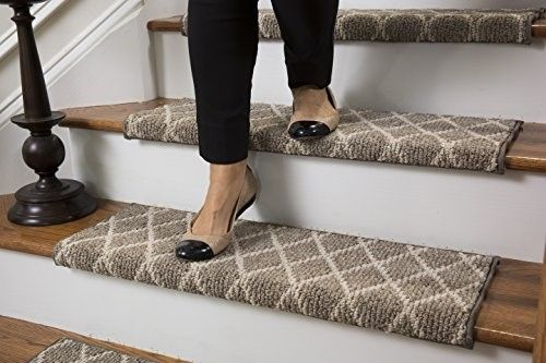"Jardin Wool Inspired Bullnose Carpet Stair Tread with Adhesive Padding - Fontainebleau, By Tread Comfort (27"" Wide - Single, Beige) 