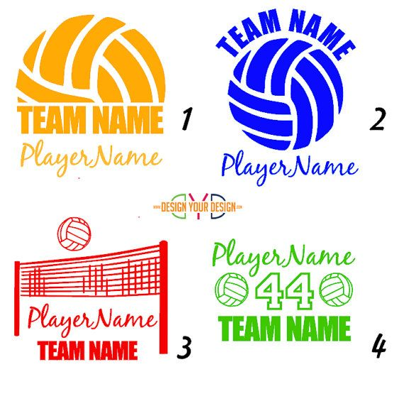 Custom Volleyball Decal  With Name by DesignYourDesign on Etsy