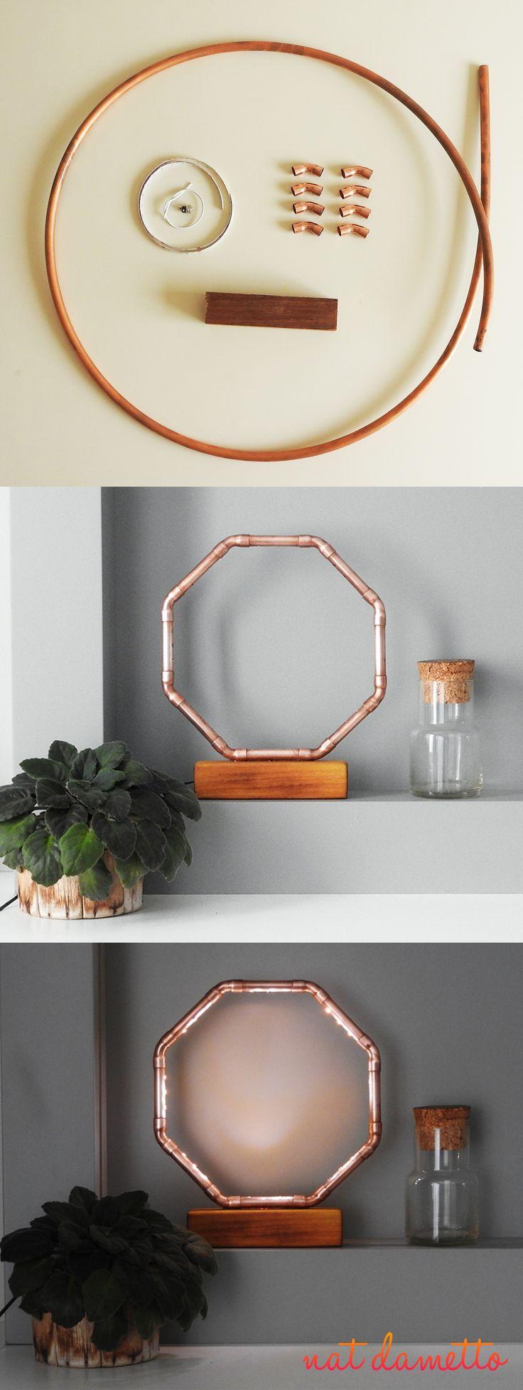 Luminária Octógono Cano de Cobre e LED DIY - Nat Dametto