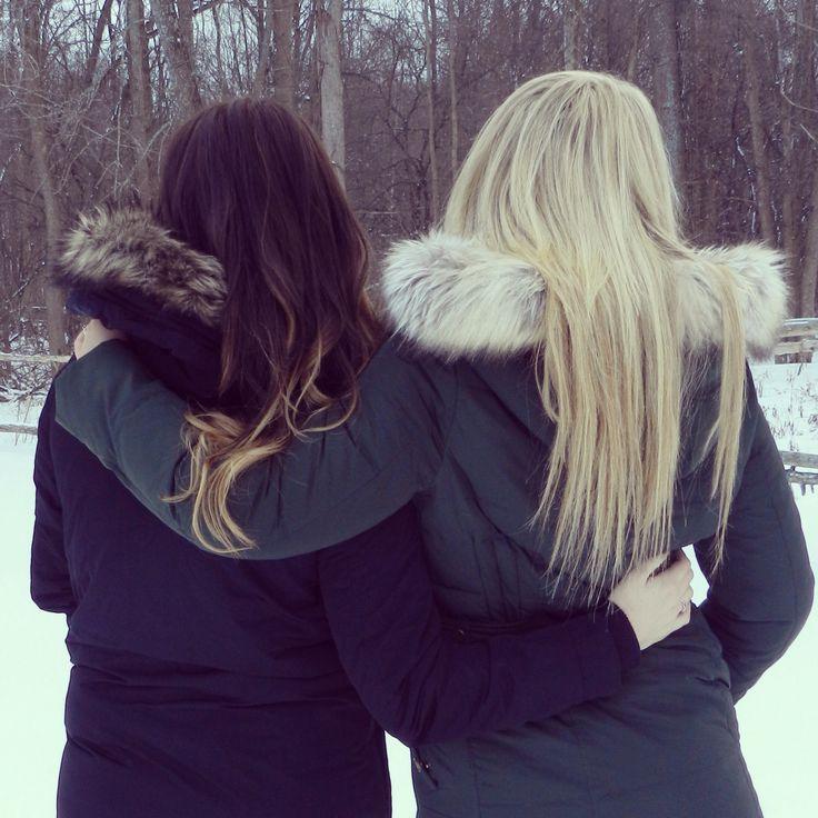 Blonde and brunette best friends