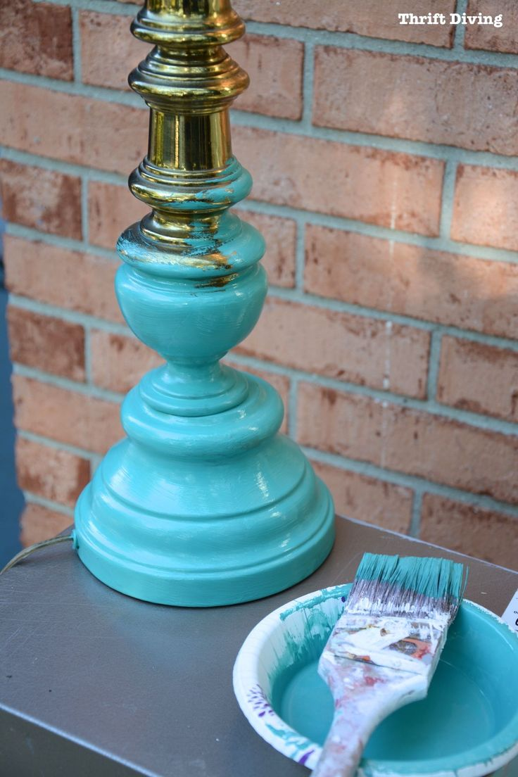 Thrifted End Table and Lamp Makeover - Turquoise lamp