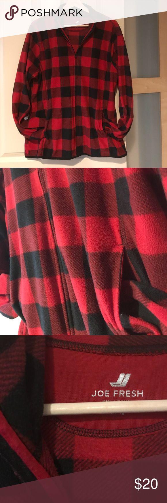 Joe Fresh buffalo plaid fleece zip jacket Perfect for summer camping and fall bonfires! Classic red and black buffalo plaid in warm fleece. Zips all the way up front with pockets. Lighter weight polar fleece is great for layering. Joe Fresh size XL Joe Fresh Jackets & Coats