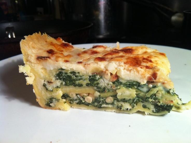 Delia Smith's spinach and ricotta lasagne