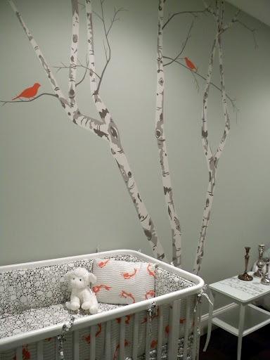 oranje vogeltjes behang