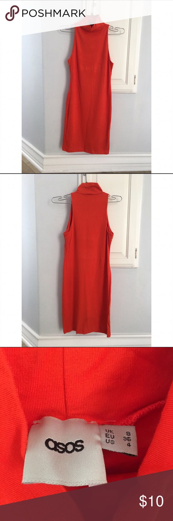 ASOS red dress ASOS red/burnt orange high neck midi dress. So flattering and looks great with heels or sandals. Size 4. 48% cotton, 48% modal, 4% elastane. Perfect condition ASOS Dresses Midi