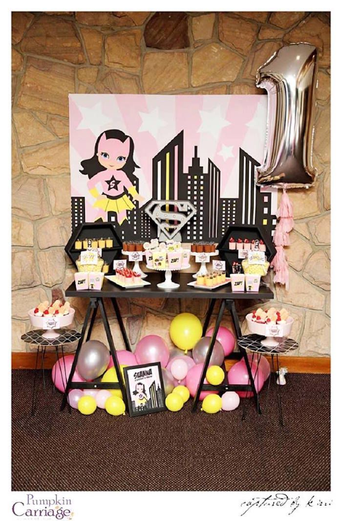 Party table from Supergirl Superhero Themed Birthday Party at Kara's Party Ideas. See more at karaspartyideas.com!