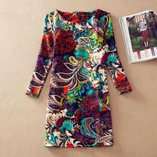 Abiti delle donne di inverno 2015 manica lunga autunno abiti delle signore vintage floral print dress women casual autunno vestito plus size abiti(China (Mainland))