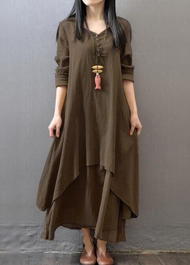 Button Design Long Sleeve Layered Maxi Dress on sale only US$27.79 now, buy cheap Button Design Long Sleeve Layered Maxi Dress at lulugal.com