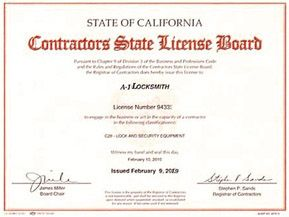 If you call a locksmith to come and make keys at your home or business, you owe it to yourself to know if they are properly licensed. If a locksmith NEVER performs any jobs for you that exceeds $500, they do not need the Contractors License as shown above but MUST have this locksmith permit.  If you use any locksmith that can't show you this permit, DO NOT let them do any work for you as they most likely have a criminal background or some other reason why they can't qualify for this permit…