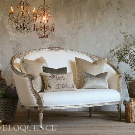 Antique Reproduction Versailles Canape Sofa in Antique Silver $3,460.00 #thebellacottage #shabbychic