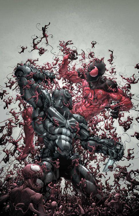 Agent Venom and Scarlet Spider being enveloped by Carnage.