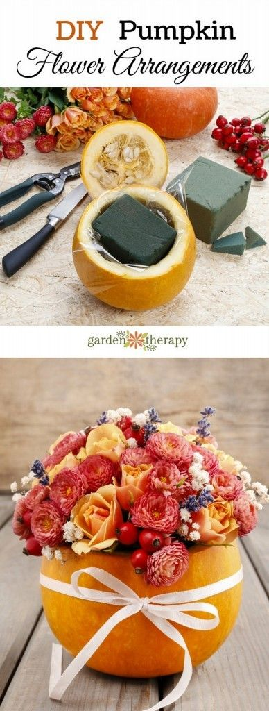 DIY Pumpkin Flower Arrangements