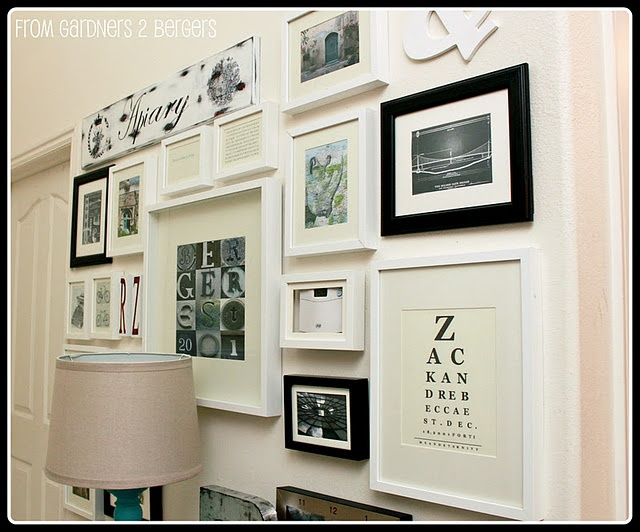 Disguised thermostatWall Collage, Home Tours, Black And White, Front Hallways, Gallery Walls, Photos Wall, Eye Charts, Frames Collage, Wall Gallery