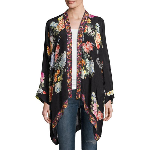 Johnny Was Jazzy Kimono-Style Printed Jacket Plus Size ($300) ❤ liked on Polyvore featuring plus size women's fashion, plus size clothing, plus size outerwear, plus size jackets, draped open front jacket, plus size kimono jacket, plus size kimono, women's plus size jackets and kimono jacket