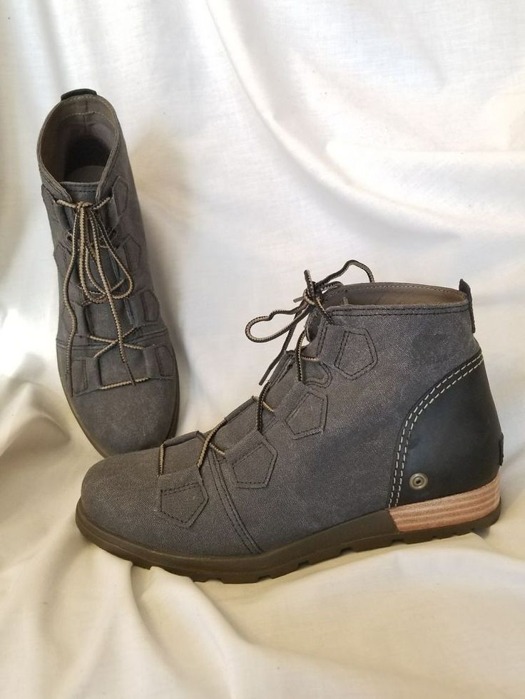 Sorel boots women's ankle bootie sz 9 M Major lace up wedge gray canvas leather | Clothing, Shoes & Accessories, Women's Shoes, Boots | eBay!