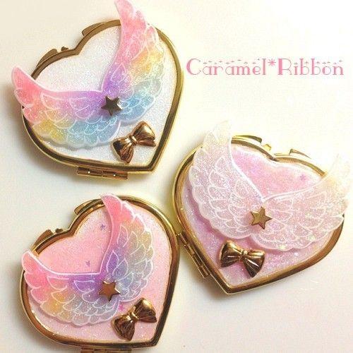 『●天使の羽ハートコンパクトミラー●Caramel*Ribbonゆぅ*』