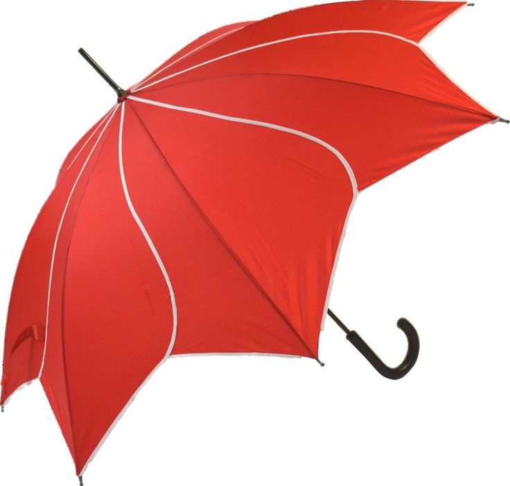 Everyday Red And White Swirl Walking Stick Automatic Open Umbrella Large Brolly