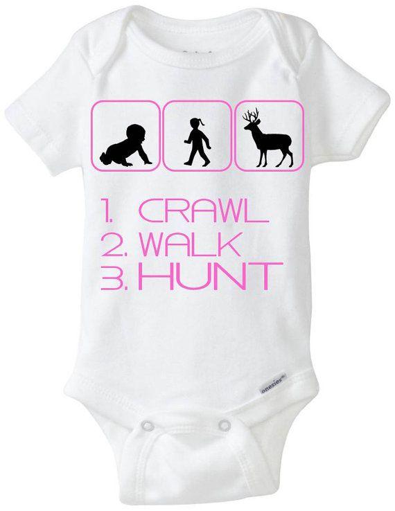 Girl Hunter Baby Girl Gift Gerber Onesie by LittleFroggySurfShop WWW.INFANTEENIEBEENIE.COM