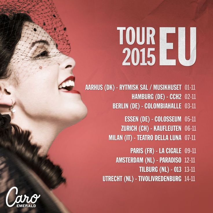 TOUR ANNOUNCEMENT! Guess who's coming to your beautiful countries again in November… See you then! ;-)  Tickets will go on sale Friday February 20, 10am. #Europeantour2015  www.caroemerald.com/tour