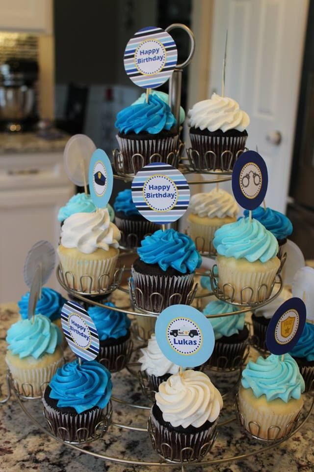Police Birthday Party Cupcake Toppers- 5M Creations Blog