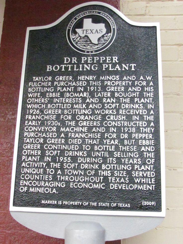 Dr. Pepper Bottling Plant historical marker - Johnson Street at Kilpatrick Street (southeast corner) - Mineola, Texas {photo by Crystal Arcand}