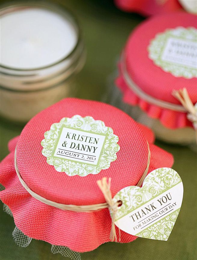 Mason Jar Candle Wedding Favors from My Own Ideas blog but I want these labels for a jam jar instead of candle.
