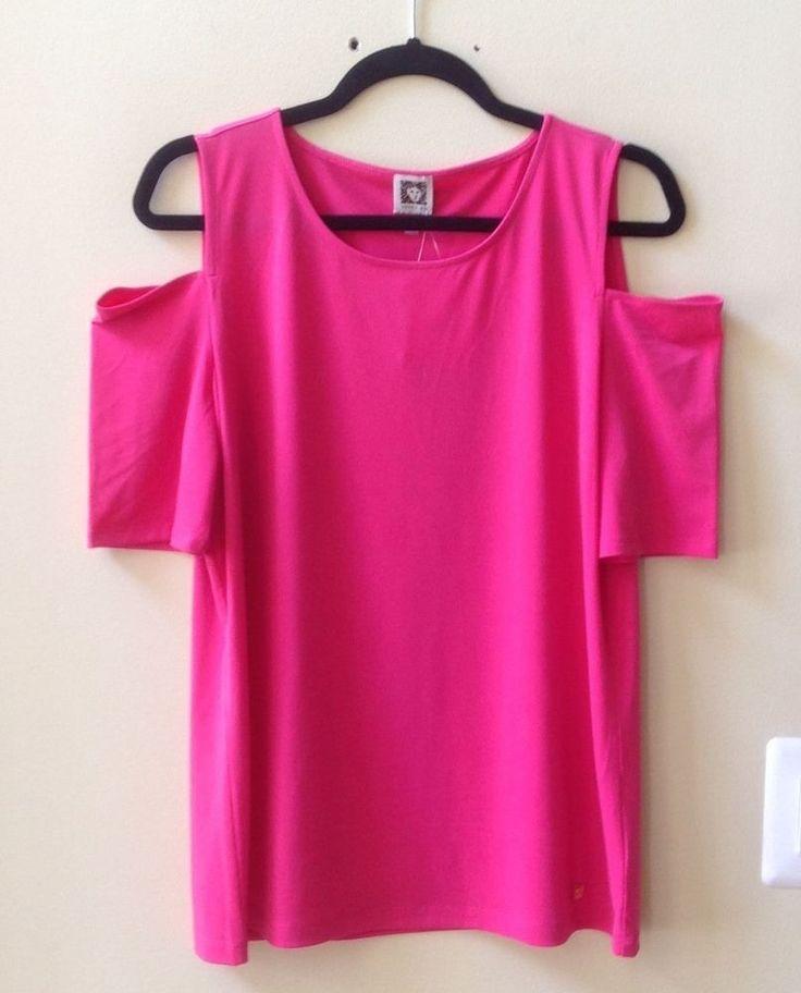 NWT ANNE KLEIN PINK POLY/SPANDEX COLD SHOULDER BOAT NECK BLOUSE SIZE M-$69 #AnneKlein #Blouse