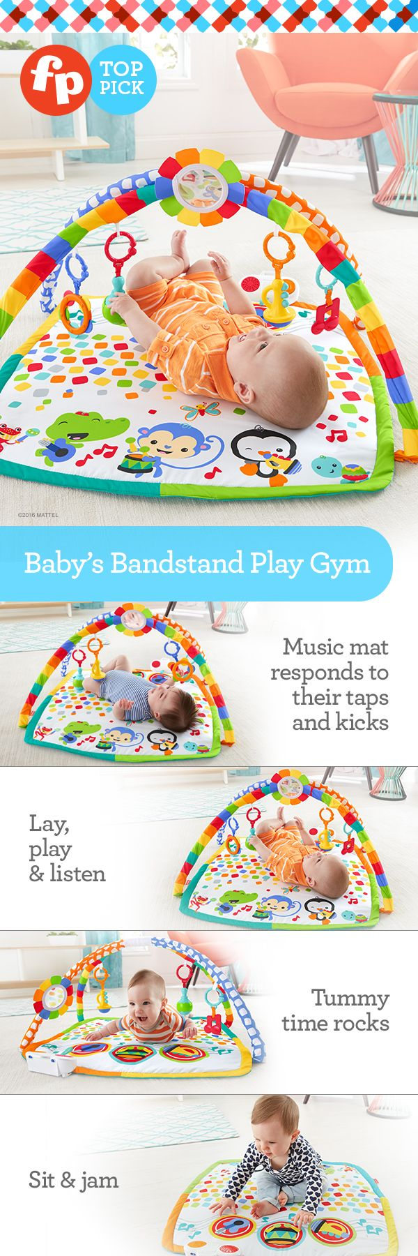 This gym rocks! The colorful mat responds to baby's taps & kicks with fun musical rewards!  The three instruments on the mat reward baby's touch with fun sounds, encouraging your wee one to push up, reach & bat. As your mini musician grows, remove the arches to let baby sit up and put on a musical show. Tots can even discover how to make the song grow by hitting the same instrument twice in a row!