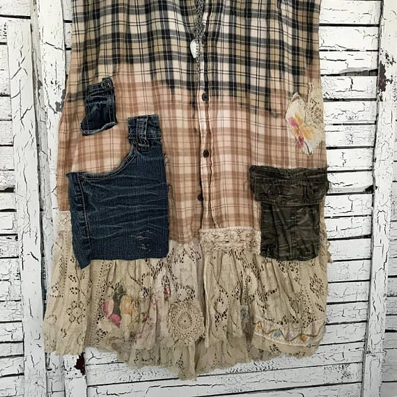 """This piece is part of my """"Prairie Chic"""" Collection: Western Inspired Clothing in """"Frontier Days meet Hippie Style""""… lots of denim, lace, ruffles and flannel… Most garments are antiqued, hand dyed and tattered for that time-worn look… Sleeveless Flannel Duster, Dress or Frock. Made"""
