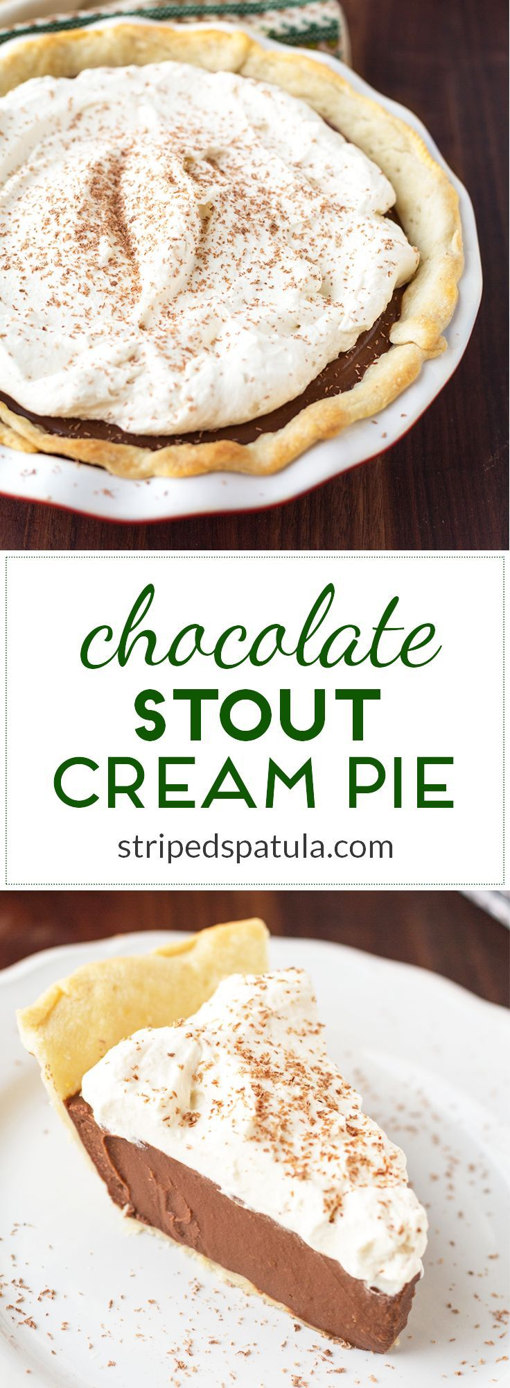 Chocolate Cream Pie gets a festive and grownup makeover for St. Patrick's Day! Topped with Irish Cream Whipped Cream for a decadent treat!