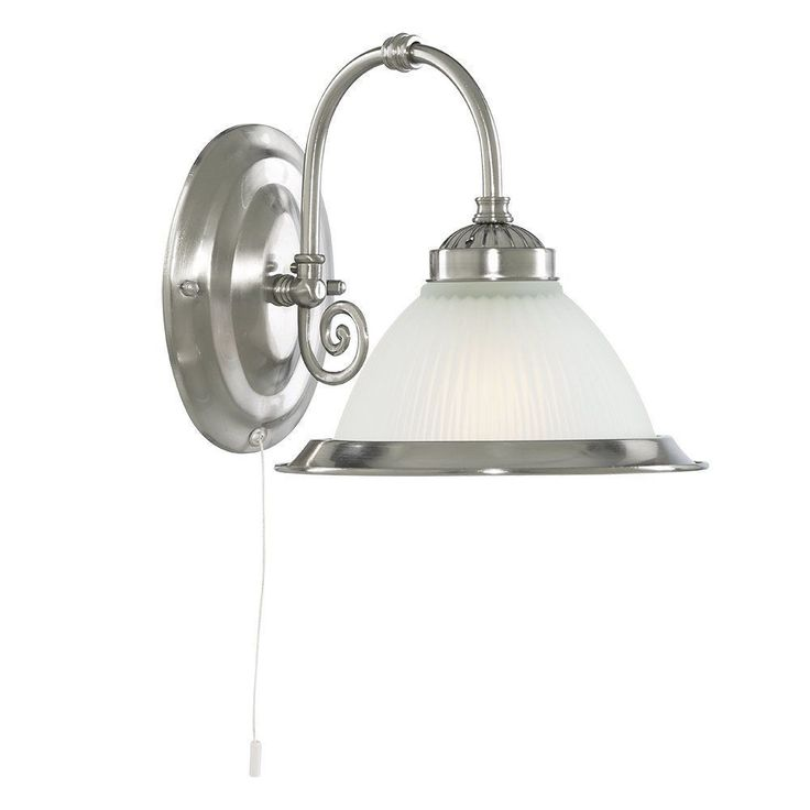 Searchlight 1041-1 American Diner 1 Wall Light Satin Silver Switched Bracket. Quality Lighting by DUSHKA LTD, London, UK