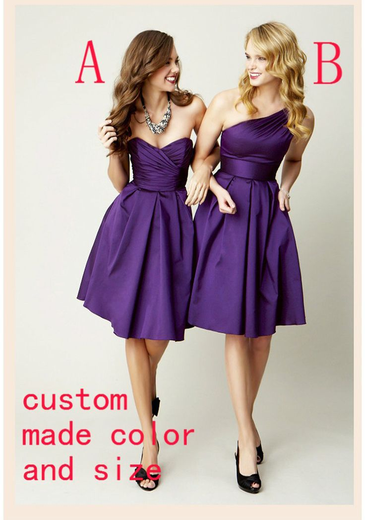 Find More Bridesmaid Dresses Information about Cheap Purple Taffeta Bridesmaid Dresses One Shoulder Short Party Dresses 2016 Abiti Lunghi Damigella Verde,High Quality dresses female,China dress breast Suppliers, Cheap dress up games wedding dress from jmrdress7 on Aliexpress.com
