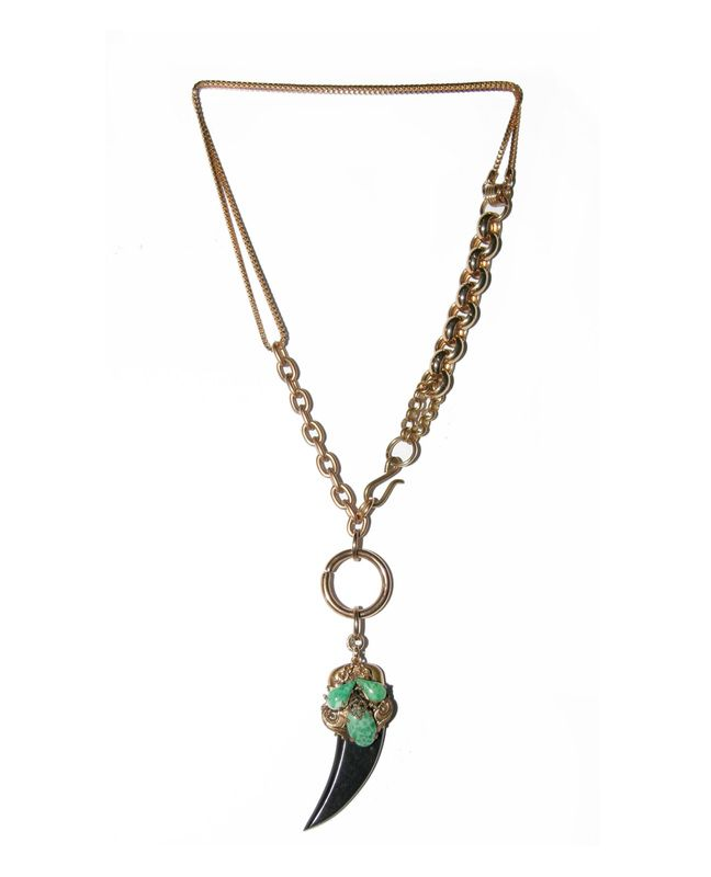 babylon:NS38 $110 A short combined vintage gold chain necklace.  Featuring an ornate Malachite pendant with a black bone pendant.