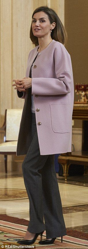 Epic Spain us Queen Letizia wears a coat by Hugo Boss for the second time