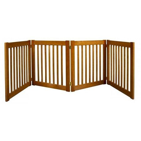 """Four Panel EZ Pet Gate - Small/Artisan Bronze. Features:   27"""" Tall   Up to 72"""" Wide   All Wood Construction   Available in Artisan Bronze, Black and Mahogany    Built to span;large open areas.The Four Panel EZ Pet Gates modular gates bring all new functionality to pet gates. With this collapsible pet gate;you be able to;block off any room in the house in a snap! Double action hinges allow for multiple set-ups so you can even block;those tough hallway angles.Protect your beautiful home..."""