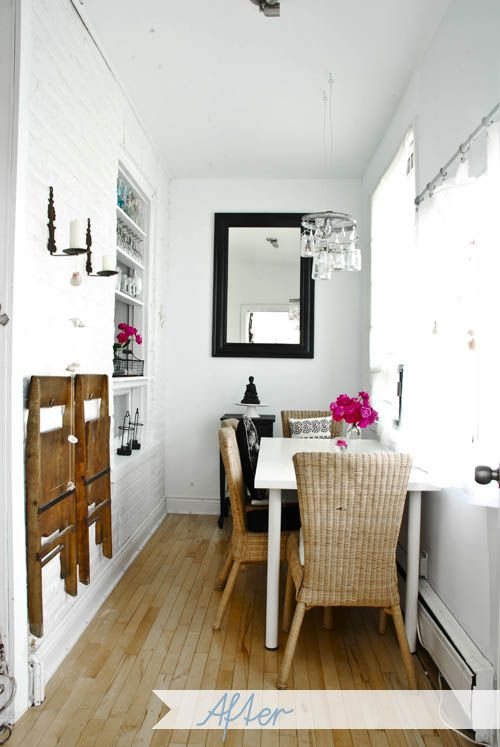 extra chairs: Dining Rooms, Dining Area, Dining Spaces, Small Dining, Hanging Chairs, Spaces Save, Small Spaces, Folding Chairs, Rooms Makeovers