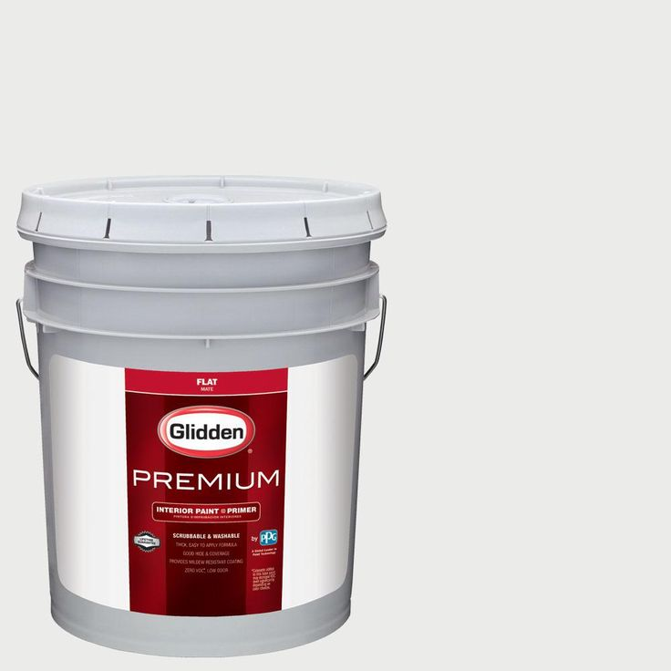 Glidden Premium 5 gal. #nfl-176F New England Patriots White Flat Interior Paint with Primer, Whites