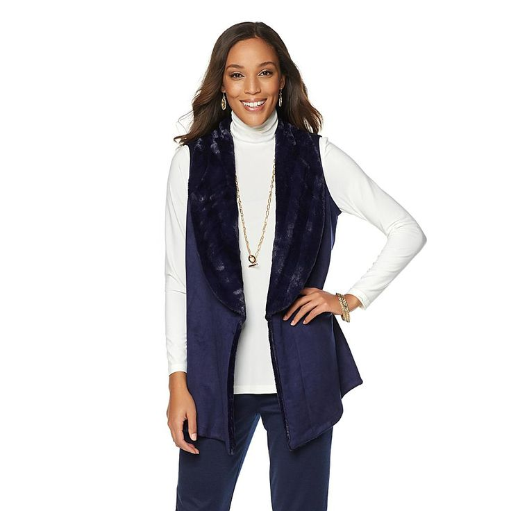 Slinky® Brand Faux Suede Vest with Faux Fur Collar - Blue