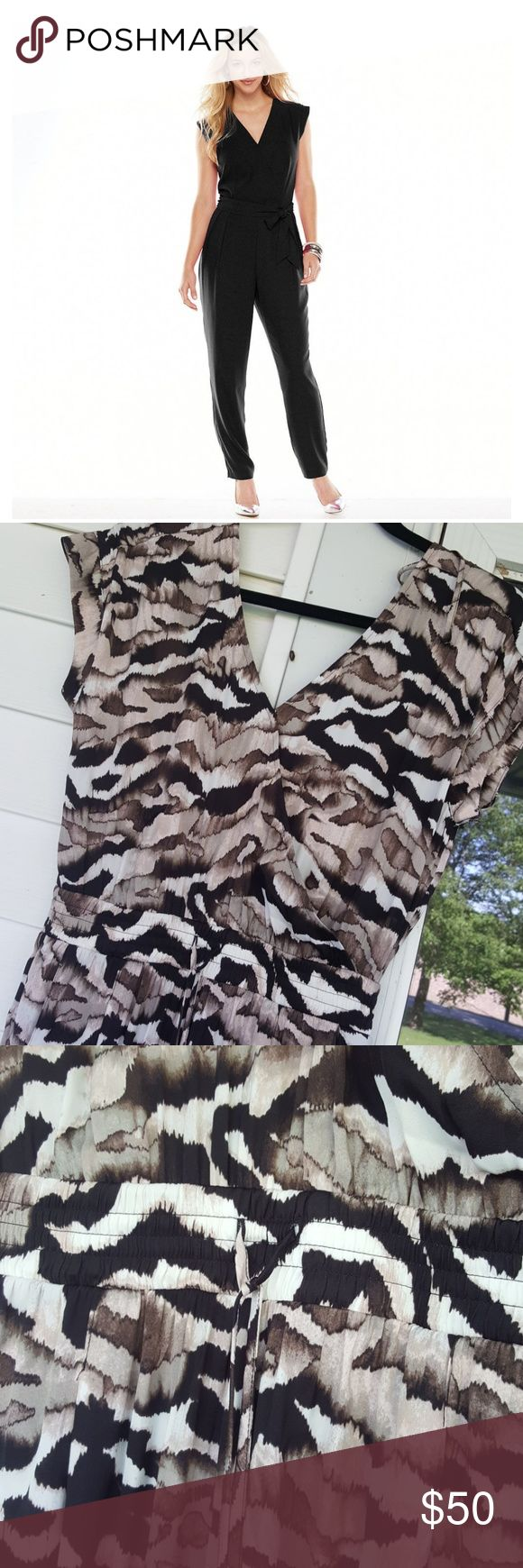 Jumpsuit Light weight & comfy. Brown multi print. To me it reminds me of camo mixed with a zebra or tiger. Pants Jumpsuits & Rompers