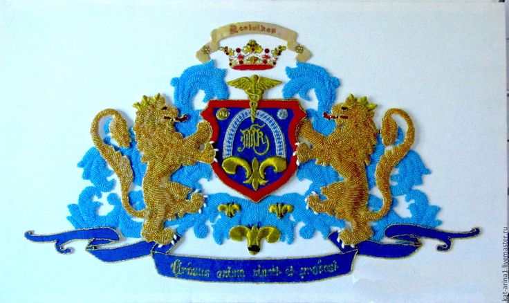 Купить Фамильный герб.Голубой золото. - синий, герб, герб на свадьбу, картина для интерьера, картина