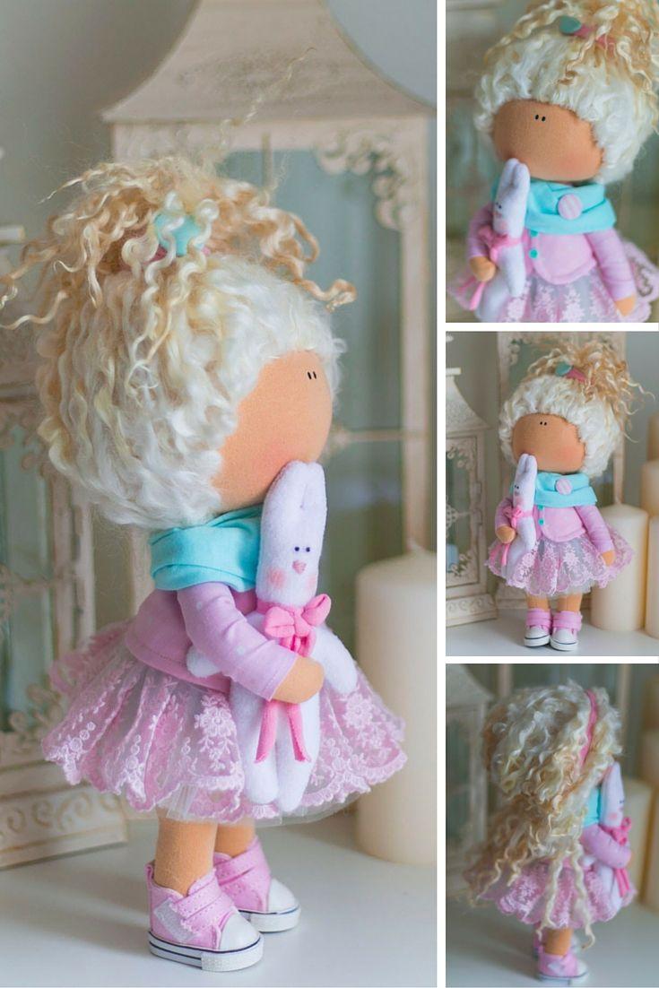 Curly doll, rag doll, baby doll, tilda doll handmade