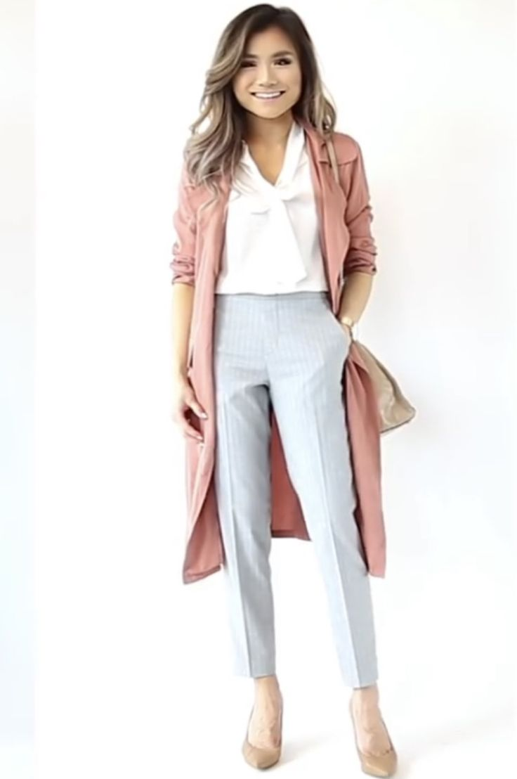 Casual blazer, white loose blouse, trousers