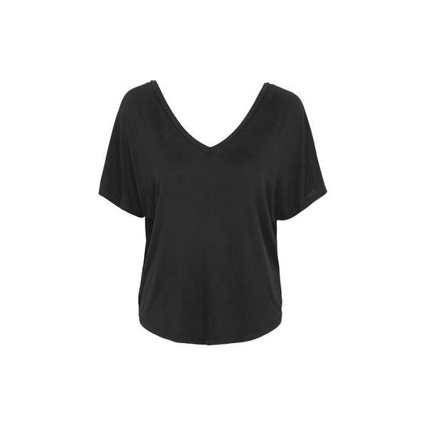 TopShop Batwing v Tee (27 AUD) ❤ liked on Polyvore featuring tops, t-shirts, black, batwing sleeve tops, topshop tops, bat sleeve tops, batwing tops and batwing t shirt