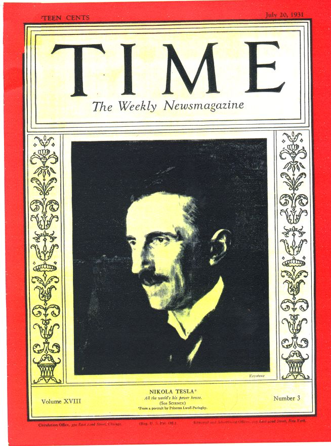 Nikola Tesla appeared on the cover of Time Magazine on his 75th birthday in 1931.