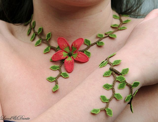 Needle lace oya necklace choker - Ruby red crocheted silk flower in lime green leaf - Elf's Elegancy by Land of Dante, via Flickr