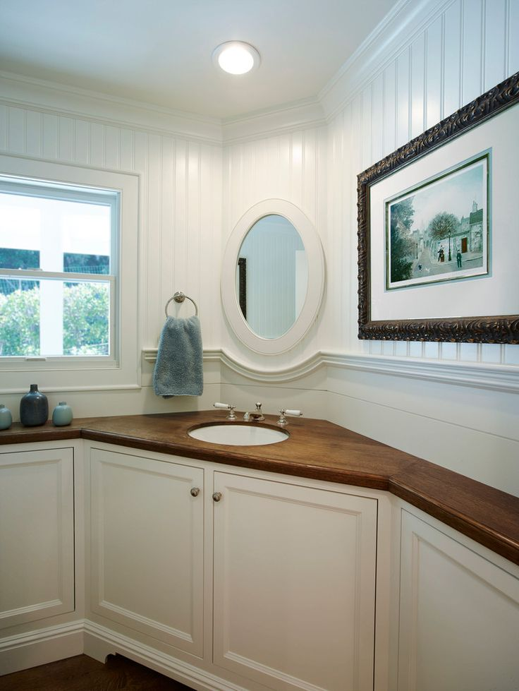 Corner Vanity Sink Spaces Transitional With Cherry Vanity