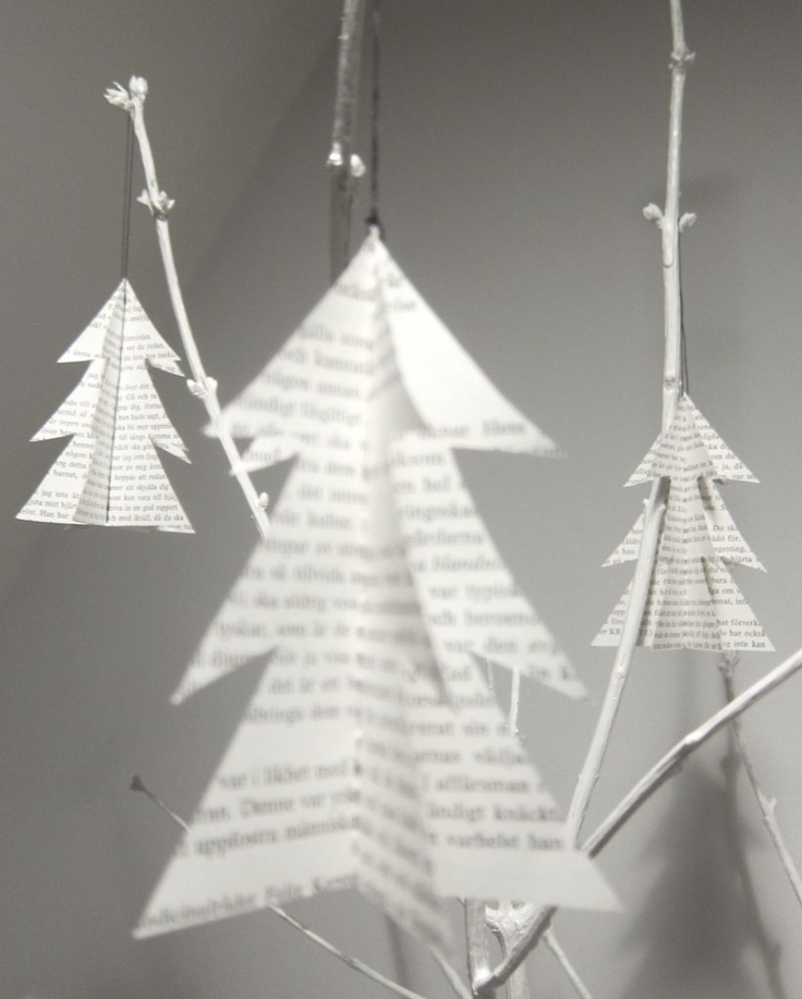 Christmas | Xmas | Jul | Noel. DIY: Decoration. Trees. Recycled Bookpages.